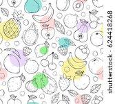 vector cute seamless pattern... | Shutterstock .eps vector #624418268
