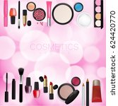 sets of cosmetics on pink bokeh ... | Shutterstock .eps vector #624420770