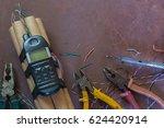 the terrorist makes a bomb in...   Shutterstock . vector #624420914