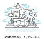 delivery service plain line... | Shutterstock . vector #624423518