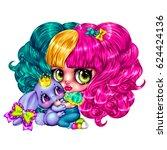 cute little girl in emo style...   Shutterstock . vector #624424136