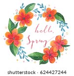 watercolor flower frame with... | Shutterstock . vector #624427244