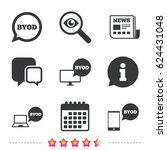 byod icons. notebook and... | Shutterstock .eps vector #624431048