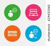 byod icons. human with notebook ... | Shutterstock .eps vector #624431060