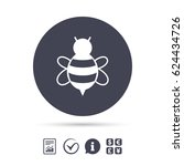 bee sign icon. honeybee or apis ... | Shutterstock .eps vector #624434726