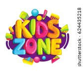 kids zone vector cartoon logo.... | Shutterstock .eps vector #624435218