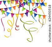 colored garlands and streamers... | Shutterstock .eps vector #624450518