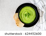 homemade puree soup with green... | Shutterstock . vector #624452600