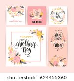 set of happy mothers day... | Shutterstock .eps vector #624455360