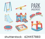 vector cartoon set of elements... | Shutterstock .eps vector #624457883