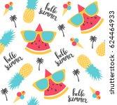 summer pattern. watermelon ...   Shutterstock .eps vector #624464933