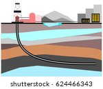 oil and gas horizontal well... | Shutterstock .eps vector #624466343