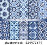 ten seamless patterns in... | Shutterstock .eps vector #624471674