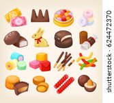 set of top popular sweet... | Shutterstock .eps vector #624472370