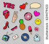 fashion badges  patches ... | Shutterstock .eps vector #624479423