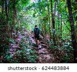 handsome man with beard walking ... | Shutterstock . vector #624483884