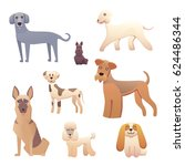 different type of cartoon dogs. ... | Shutterstock .eps vector #624486344