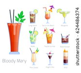 set of alcoholic cocktails... | Shutterstock .eps vector #624486374