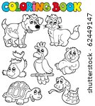 Stock vector coloring book with pets vector illustration 62449147