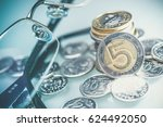 polish currency coins and...   Shutterstock . vector #624492050
