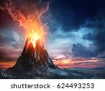 Volcanic Mountain In Eruption - 3D rendering