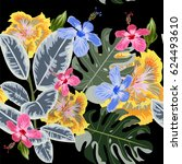 tropical seamless floral... | Shutterstock .eps vector #624493610
