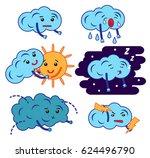 clouds cartoon emoji  smily... | Shutterstock . vector #624496790