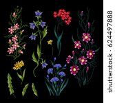 embroidery flowers. embroidered ...   Shutterstock . vector #624497888