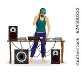 summer party  dj and his... | Shutterstock .eps vector #624500333