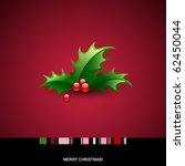 christmas card with holly berry | Shutterstock .eps vector #62450044