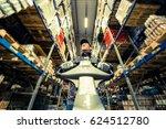 caucasian worker in uniform...   Shutterstock . vector #624512780