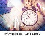 businesswoman holding a big...   Shutterstock . vector #624512858