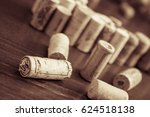 wine corks on wooden table... | Shutterstock . vector #624518138