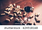 red wine glass  corks and... | Shutterstock . vector #624518168