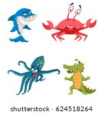 cool shark  octopus  crocodile  ...   Shutterstock .eps vector #624518264