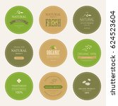 set of natural label and... | Shutterstock .eps vector #624523604