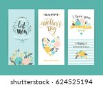 set of happy mothers day... | Shutterstock .eps vector #624525194