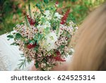 bohemian bride showing off her... | Shutterstock . vector #624525314