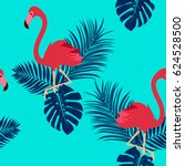 seamless pattern with flamingo... | Shutterstock .eps vector #624528500