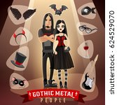 gothic metal people subculture... | Shutterstock .eps vector #624529070
