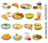 breakfast brunch healthy start... | Shutterstock .eps vector #624529073