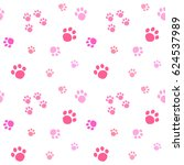 Stock vector paw print seamless pattern cute pink paw prints isolated on white background 624537989