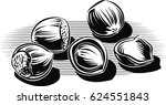 hazelnuts  scattered on a floor. | Shutterstock .eps vector #624551843