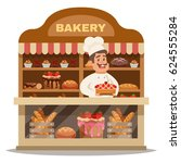 bakery shop design concept with ... | Shutterstock .eps vector #624555284