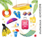 summer holidays tropical beach... | Shutterstock .eps vector #624555398