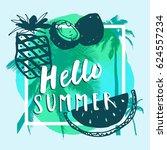 hello summer. hand drawn summer ... | Shutterstock .eps vector #624557234