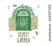 secret garden design card brush ... | Shutterstock .eps vector #624557333