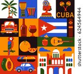 cuba illustration. collection... | Shutterstock .eps vector #624564944