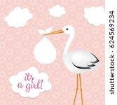stork with baby girl  | Shutterstock . vector #624569234