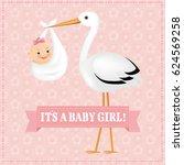 poster stork with baby girl  | Shutterstock . vector #624569258